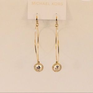 Michael Kors Gold CrystalCharm Hoop Earrings